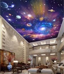 plafond de peinture Promotion Personnalisé 3d plafond peintures murales décor à la maison peinture ciel étoilé univers galaxie 3d peintures murales papier peint pour le salon