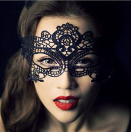 Wholesale Eye Mask Lace Lingerie - Sexy black lace hollow mask goggles nightclub fashion queen female sex lingerie Cutout Eye Masks for Masquerade Party Mask