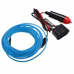 Wholesale El Wire 12v Inverter - New Arrival Multicolor Flexible 5M EL Wire Rope Tube Strip Neon Cold Light Party Dance Car Decor With 12V Inverter