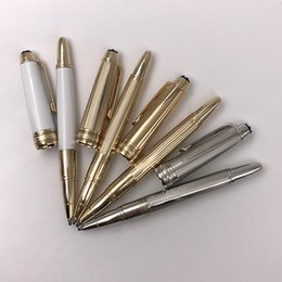 Wholesale Mini Cute Pens - Cute Mini Short Rollerball Pen Carved Designs Gold Silver White MB Pens Good Writing Stationery Office Supplies Xmas Gift