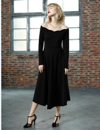 Wholesale Tall Women S Dresses - The new 2016 during the spring and autumn outfit retro wave one word led tall waist elegant little black dress