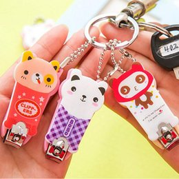 Wholesale Children Nail Scissors - Fashion 1 Pieces Cute Cartoon Animal Pet Nail Clippers Scissors Manicure Tools With Key Chain Keychain Cutter Kid Children Gifts