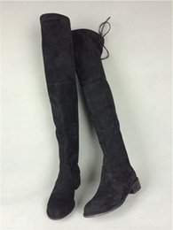 Wholesale Grey Thigh - free hongkong post~U165 34 40 GENUINE LEATHER LOWLAND FLAT THIGH BOOTS