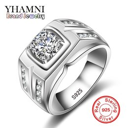 Wholesale Pave Cz Sale - YHAMNI Hot Sale Brand Fashion Men 925 Sliver Ring Engagement Ring Sliver Plated CZ Diamond Popular Men Jewelry MZJ004