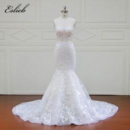 Wholesale High End Beach Wedding Dresses - Eslieb High-end Custom made Off Shoulder Mermaid Wedding Dress 2018 for Plus Size Wedding Dresses Africa Weddings