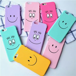 Wholesale Etui Iphone - Korea Candy Color Cartoon Smile Emoji Matte Hard Back Cover Capa Carcasas Funda Etui Coque For iPhone 6 6s 6 plus Plastic Case