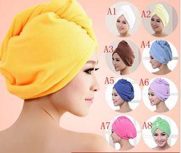 Wholesale Fine Bath Towels - 62*25cm Factory direct Shulan Duo thick ultra-fine fiber dry hair cap super absorbent bath towel dry towel