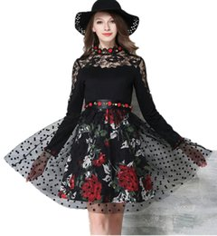 Wholesale Dotted Ladies Skirts - New Hot Good Selling Ladies Women Casual fashion Embroidery Lace Stitching Slim Long-sleeved Bottoming Dress Skirt 2272