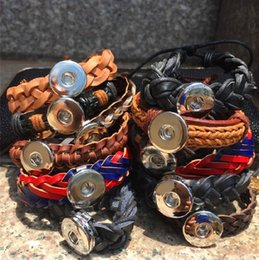 Wholesale Leather Bead Bracelet Wholesale - 12PCS 18MM Noosa Wristband NOOSA chunks snap button jewelry Skin Charm Bracelets Trendy Snap Button DIY Jewelry Lots Best Gift bracelet