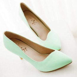 Wholesale Small Wedding Heels - 2016 new spring shoes with pointed white fine documentary PU shoes high-heeled shoes small size shipping 33