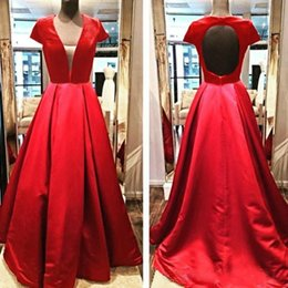 Wholesale Backless Tops Open Back - Top Quality Red A Line Prom Dresses 2016 Open Backless V Neck Floor Length Evening Gowns Satin Formal Party Dresses Custom Made