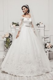 Wholesale Romantic Long Sleeves Wedding - 2016 Romantic Arabic Long Sleeves Lace Crystal Plus Size Ball Gown Wedding Dresses Off Shoulder Beads Sashes Court Train Formal Bridal Gowns