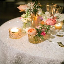 Wholesale Cheap Christmas Table Cloth - 108 Inch Round White Sequin Table Cover Christmas and Round Linen Table Cloths table cover Cheap table linens