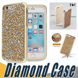 Wholesale Premium Diamonds - Luxury 2 in 1 Premium Bling Case Glitter Diamond Rhinestone Back Cover TPU+PC Skin Phone Cases For iPhone 7 5 6 6S Plus Sumsung S8 S8plus