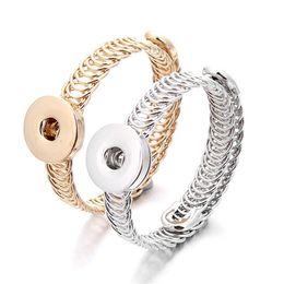 botones de oro 18mm Rebajas Botón de oro del metal plateado Noosa Snap Fit brazaletes de las pulseras de 18 mm Ginger Snap Button joyería para las mujeres de los hombres