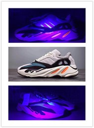 Wholesale Fabric Chalk - Kanye West Wave Runner 700 Running Shoes 700 Boost Solid Grey Chalk White Core Black Fashion Casual Sports Sneakers size 36-46