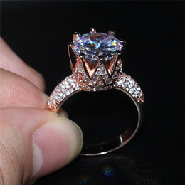 Wholesale Gemstone Silver - Fashion 925 Sterling Silvre Rose Gold Gemstone Diamond CZ Crown Jewelry Cocktail Wedding Bride Band Rings finger for Women