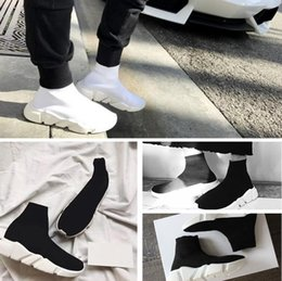 Wholesale Brand Name Box - 2017 Name Brand High Quality Speed Trainer Casual Shoe Man Woman Sock Boots With Box Stretch-Knit Casual Boots Race Runner Cheap Sneaker