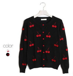 Wholesale Patterned Knitwear - Wholesale- RenYvtil Women Cherry Embroidery Sweet Knitwear Cardigans Beautiful Women's Patterns Knitted Sweaters Thin Warm V Neck Cotton
