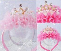 Wholesale Hair Stones - New Kids Girl Princess Baby Pink Velvet Crown Pearl Stone Ribbon HeadBand Hair Accessories