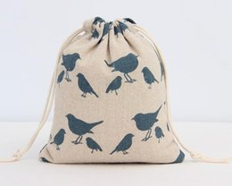 Wholesale Blue Bird Jewelry - Happy Blue pigeon Bird Pirnted linen Gift Bag 9x12cm 10x15cm 13x17cm pack of 50 Jewelry Drawstring Pouch