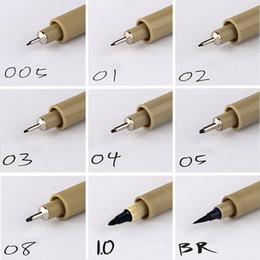 Wholesale Sakura Wholesale - 9pc fineliner Sakura Pigma Micron Drawing Pen 005 01 02 03 04 05 08 Brush Waterproof Manga anime comic Pen NOT staedtler
