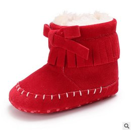 Wholesale Red Moccasin Boots - Baby moccasins boots with fur fleece lined warm christmas boots toddler kids thicken winter snow boots baby kid walker crib shoes T0577