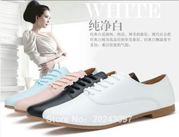 Wholesale Genuine Leather Nurse - wholesale fashion woman casual shoes white nurse shoes low feel woman's work shoes pointed toe candy color leather upper TPR sole