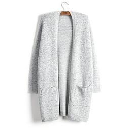Pull Femmes Manteau De Mode Automne Hiver Épais Garder Au Chaud Cardigan New Lady Chandail Gris Long Style Tricot Solide Avec Poche Surdimensionné 5XL ? partir de fabricateur