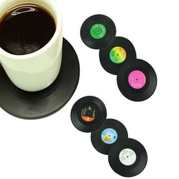 Wholesale Retro Records - Wholesale-6 Pcs set Home Table Cup Mat Creative Coffee Drink Placemat for table Spinning Retro Vinyl CD Record Drinks Coasters Fashion