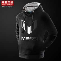 Wholesale Barcelona For Men - Wholesale-Messi men hoodie football hoody Argentina print Barcelona Messi 10 LOGO hooded Sweatshirts jacket for men and women soccer