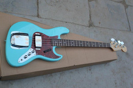Wholesale Green Electric Bass Guitar - Free shipping 2016 new four-string electric bass pickups with blue-green shell can be customized banjo electric guitar