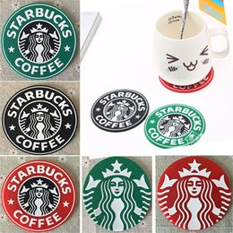 Wholesale mug pad - Cup Mats Pads Decoration Starbucks Mermaid Silicone Coaster Round Platemat Mug Coffee Milk Cup Insulation mat Pads HH-M01