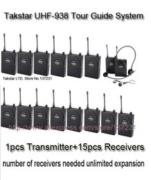 Wholesale Headset System - Cheaper Takstar UHF-938 UHF frequency Wireless Tour Guide System 50m Operating Range 1 Transmitter+15Receivers for Tour guiding