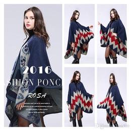 Wholesale Thick Wool Scarves Sale - Wholesale-Hot sale Ladies Shawls geometry Cloaks Winter Scarves Warmer thick Shawls coat women Shawls scarves A0346