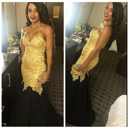 Wholesale tulle skirt slim - 2017 Slim Sexy Halter Gold Lace Appliques Mermaid Prom Dress New Black Skirts Long Evening Party Gowns robe de soiree Formal Long