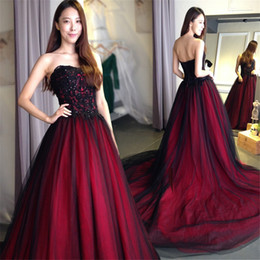 Wholesale Simple Sweetheart Dresses - Gothic wedding dress with Color Sweetheart Lace Up Back Floor Length Long Black Burgundy robe de soiree vestido longo de festa