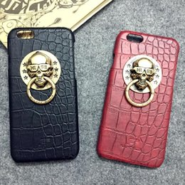 Wholesale Wholesale Metal Skulls For Cases - Retro Leather Cases with Metal Skull Phone Holder Kickstand Phone Cases Fashion Mobile Phone Cover for Iphone6 6plus