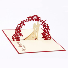 Wholesale Folded Paper Cards - 3D Wedding Invitation Cards Manual Handmade Card Decoration Greeting with Envelope Hollow Sweet Red Paper Folded Bride Accessories