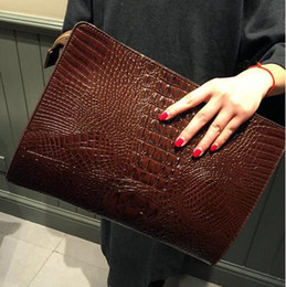 Wholesale Retro Vintage Tote - Hot Crocodile Bag Envelope Bag Women's Envelope Clutch Party Evening Bags Vintage Retro Women Leather Handbags Tote Hand Bag