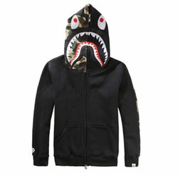 Wholesale Camo Collars - New Arrival Men's Gray Hoodies Streetwear Funny Cartoon Hooded Sweatshirt Coat Camo Shark Skateboard Hoodies Full Zip Jackets
