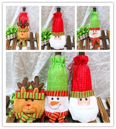 Wholesale Decorative Wine Bottle Covers - Christmas Bottle Cover Holiday Gift Table Decoration Christmas Table Decorative Santa Suit Wine Bottle Cover Candy Bag Holiday Gift