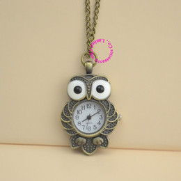 Wholesale Vintage Fun - wholesale price good quality fashion women girl lady bronze vintage retro fun cute owl pocket watch necklace hour