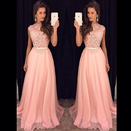 Wholesale Fancy Tops - 2018 Fancy New Pink Chiffon Long Prom Dresses Illusion Lace Top Flow Chiffon Floor Length Evening Vestidos De Fiesta Party Dresses with Belt