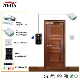 Wholesale Glass Door Magnetic - RFID Access Control System Kit Wooden Glasses Door Set+Eletric Magnetic Lock+ID Card Keytab+Power Supplier+Exit Button+DoorBell