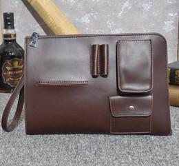 Wholesale File Key - factory direct selling brand new Korean male bag retro men hand bag fashion leisure fashion crazy horse leather bag briefcase file men hand