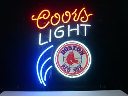 Wholesale Red Sox Light Sign - BOSTON RED SOX BASEBALL COORS LIGHT BEER Real Glass Neon Light Sign Home Beer Bar Pub Recreation Room Game Room Windows Garage Wall Sign