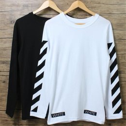 Wholesale Mens Modal Shirts - Wholesale-Mens Long Sleeve T shirt OFF WHITE Brand Fashion Outdoor Casual Oversize Tee shirt High Quality O neck Cotton Palace Tees S-XL