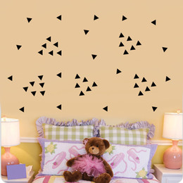 Wholesale Decal Baby Room - 5cm Triangles Wall Stickers, 154pc Sheet Black DIY Modern Vinyl Wall Art Home Decor, Baby Nursery Kids Room Wall Decals
