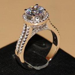 Wholesale vintage round setting ring - Victoria Wieck Pave setting Vintage Jewelry 925 Sterling silver Round Topaz Simulated Diamond Wedding Engagemet Rings for Women Size 5-11